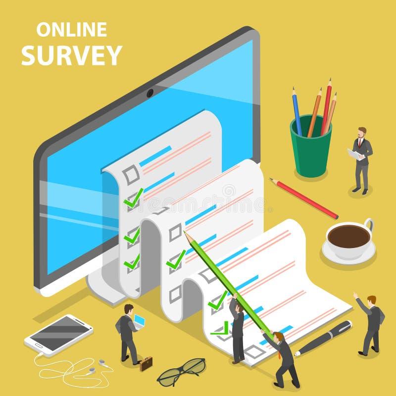 Online ankiety płaski isometric wektorowy pojęcie ilustracja wektor