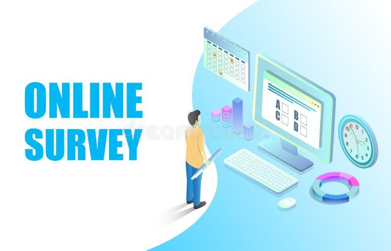 Online ankiety sieci sztandaru projekta wektorowy szablon ilustracja wektor