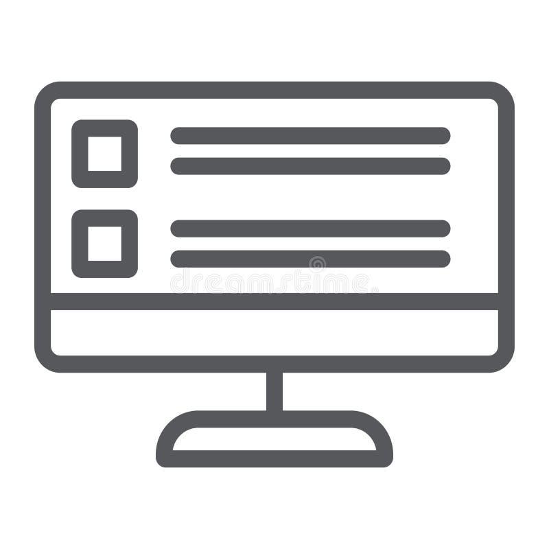 Online ankiety wykładają ikonę, komputer i test, komputeru osobistego ekranu znak, wektorowe grafika, liniowy wzór na białym royalty ilustracja