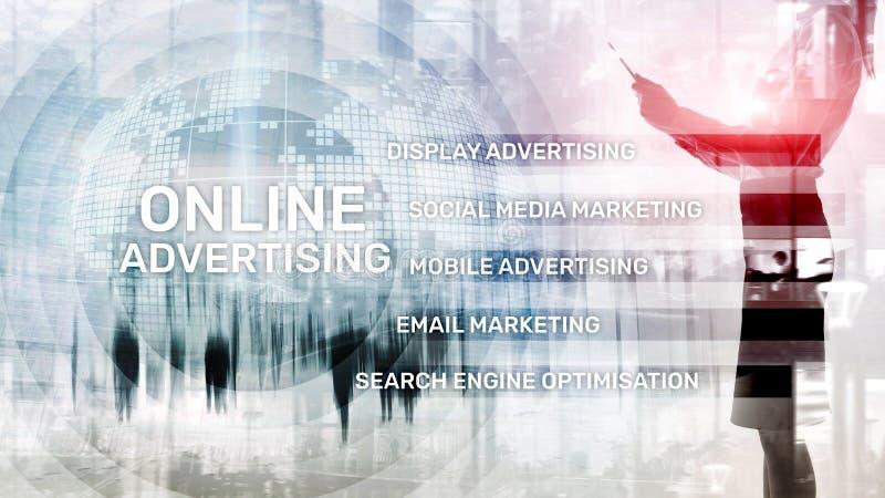 Online-annonsering, Digital marknadsf?ring Aff?rs- och finansbegrepp p? den faktiska sk?rmen vektor illustrationer