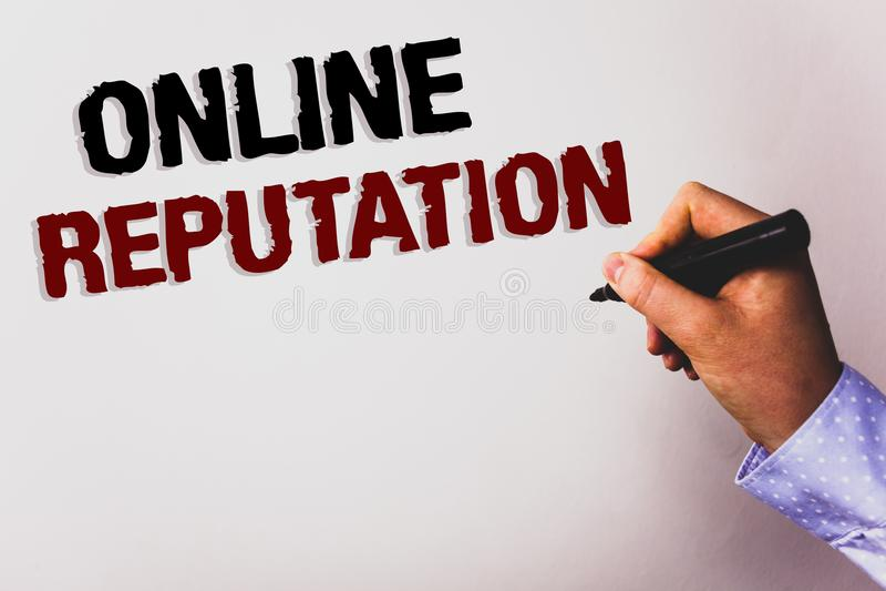 Online-anseende för ordhandstiltext Affärsidé för lodisar för vit för text för tillfredsställelse för utvärdering för pålitlighet arkivfoton
