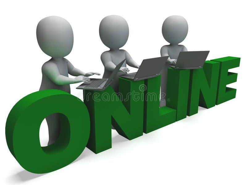 Online-anslutning visar world wide web stock illustrationer