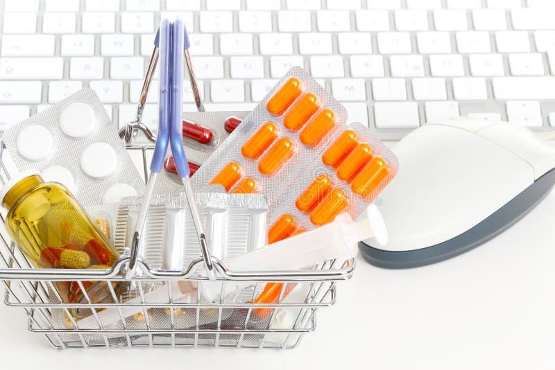 Online-apotek fotografering för bildbyråer