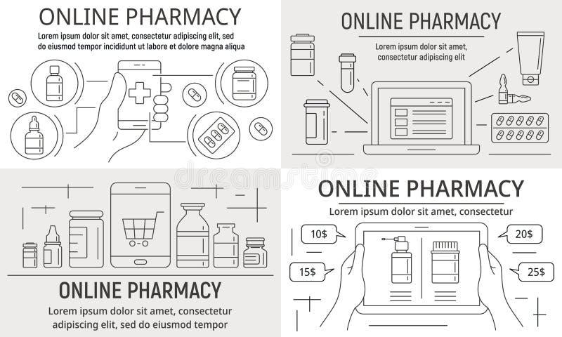 Online-apotekbaneruppsättning, översiktsstil royaltyfri illustrationer