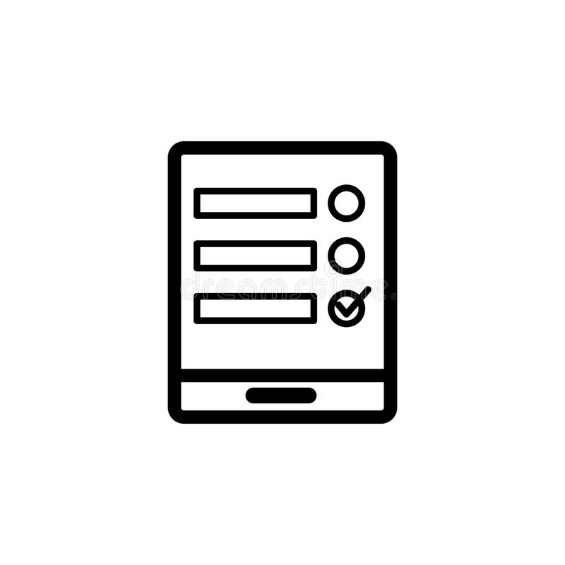 Online application form in the tablet icon. Element of web icon for mobile concept and web apps. Isolated online application form. In the tablet icon can be royalty free illustration