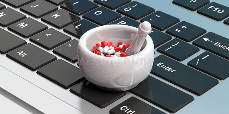 Online apteka Pigułek kapsuły w moździerzowej, komputerowej klawiatury tle, ilustracja 3 d ilustracji