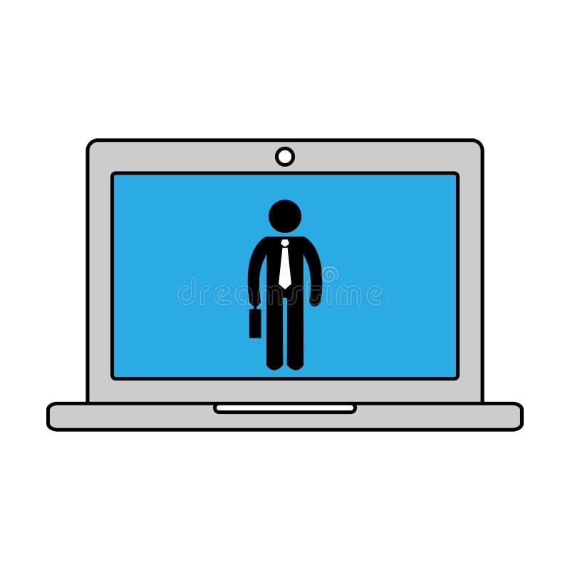 Online-arbetssymbol också vektor för coreldrawillustration vektor illustrationer