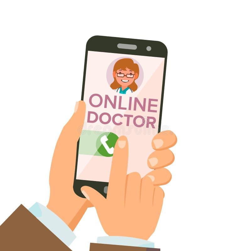 Online Arts App Vector Handen die smartphone houden Online overleg Vrouw op het Scherm De gezondheidszorg mobiele dienst royalty-vrije illustratie