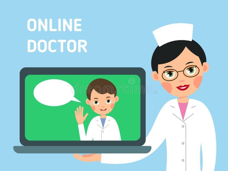 Online arts Concept moderne gezondheidszorg De verpleegster toont u hoe te om medisch advies met hulp van Internet te krijgen De  royalty-vrije illustratie