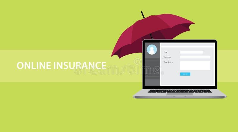 Online asekuracyjna pojęcie ilustracja z notatnikiem na górze stołu ochraniającego czerwonym parasolem ilustracji