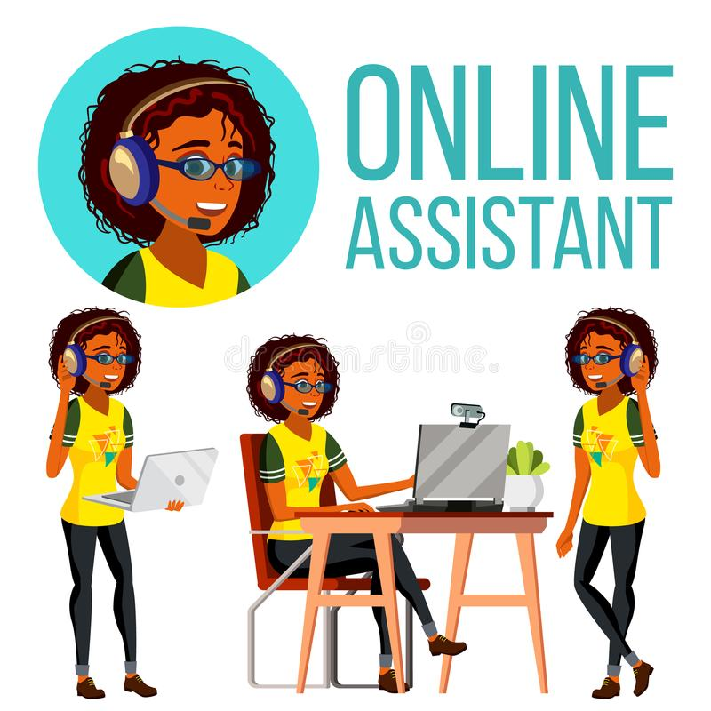 Free Online Assistant African Woman Vector. Headphone, Headset. Call Center. Technical Support. Dispatcher. Illustration Stock Images - 120480264