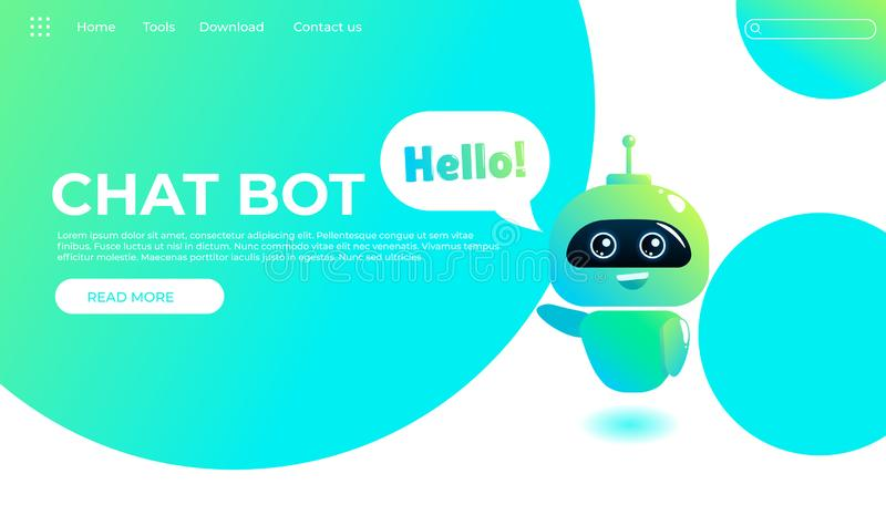 Online assistant bot landing page template. Technical support design for web page. Virtual help website. Chatbot say Hello stock illustration