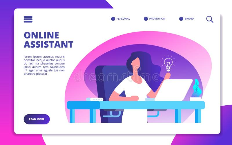Online assistant. Customer global service, woman hotline operator advises clients. Virtual technical support vector vector illustration