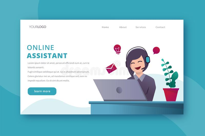 Online assistant landing page vector template stock image