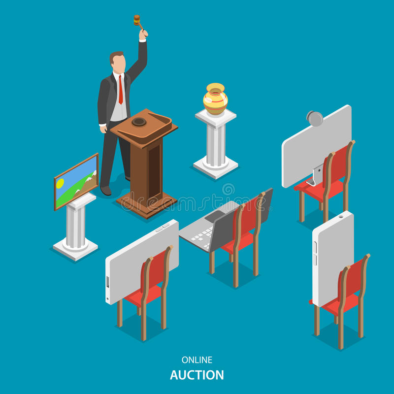 Online auction isometric flat vector concept. vector illustration