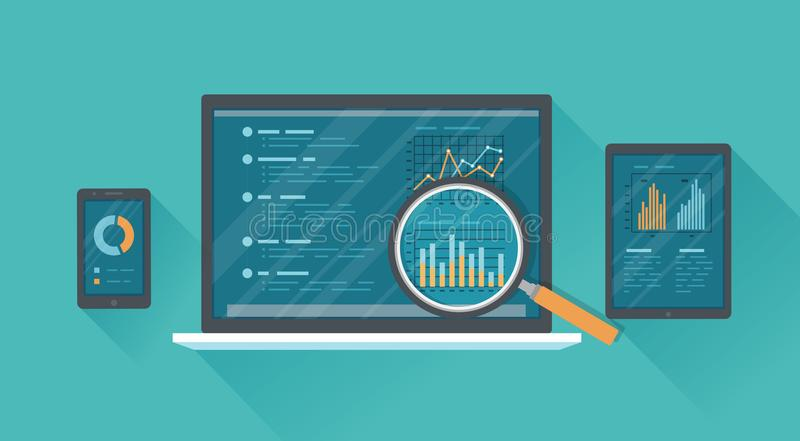 Online audit, research, analysis concept. Web and mobile service. Financial reports, charts graphs on screens of a laptop, phone. Tablet with a long shadow vector illustration