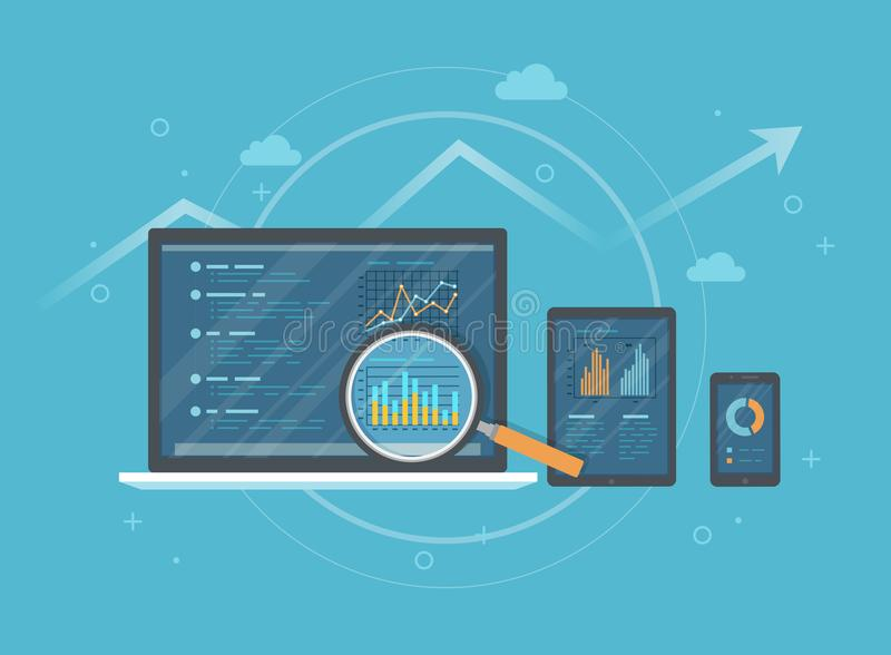 Online audit, research, analysis concept. Web and mobile service. Financial reports, charts graphs on screens of a laptop, phone. Tablet. Business background stock illustration