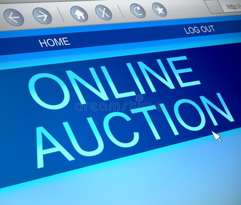 Online-auktionbegrepp royaltyfri illustrationer