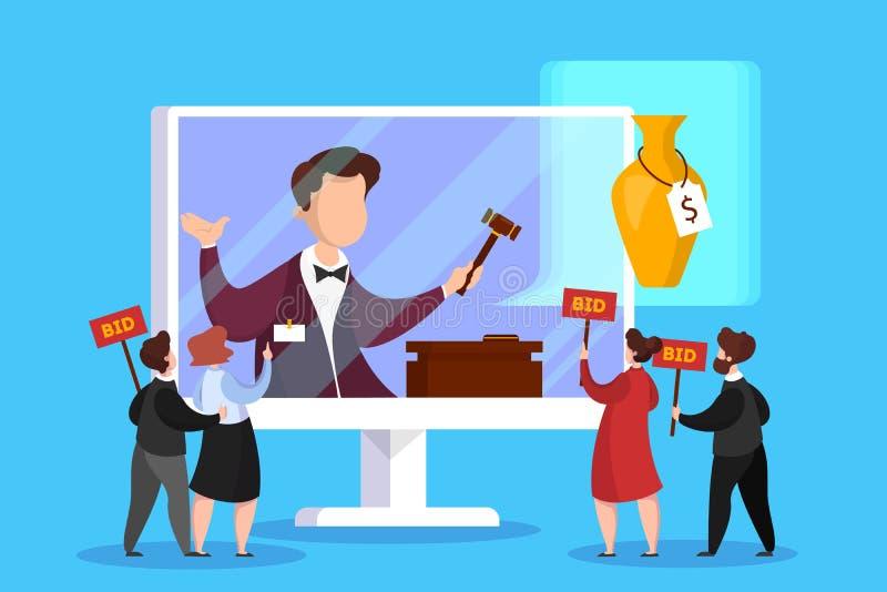 Online-auktionbegrepp Ta handling i auktion till och med apparaten royaltyfri illustrationer