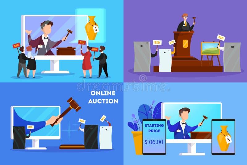Online-auktionbegrepp Ta handling i auktion till och med apparaten stock illustrationer