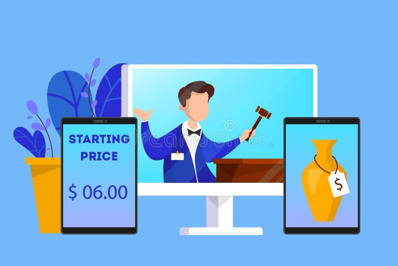 Online-auktionbegrepp Ta handling i auktion till och med apparaten vektor illustrationer