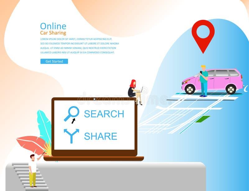 Online auto die vectorillustratieconcept, mobiel stadsvervoer met beeldverhaalkarakter delen royalty-vrije illustratie