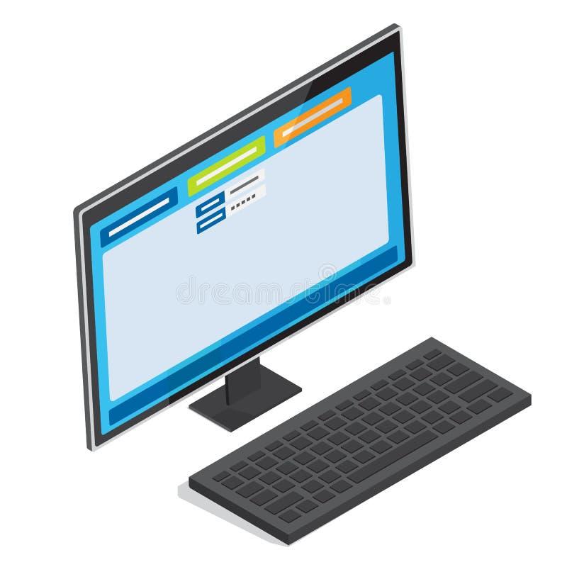 Online autoryzaci strona na peceta ekranu wektorze ilustracji