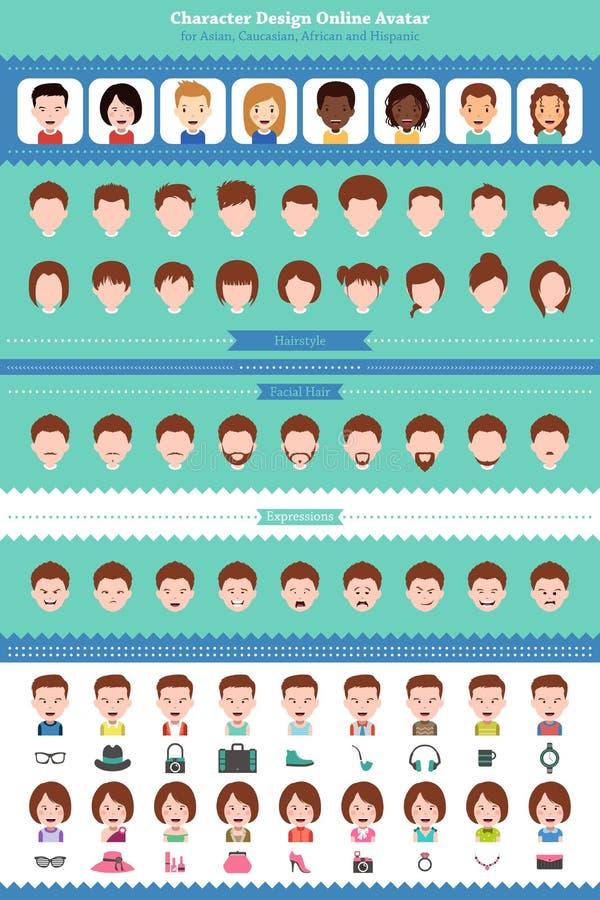Online-avatar stock illustrationer