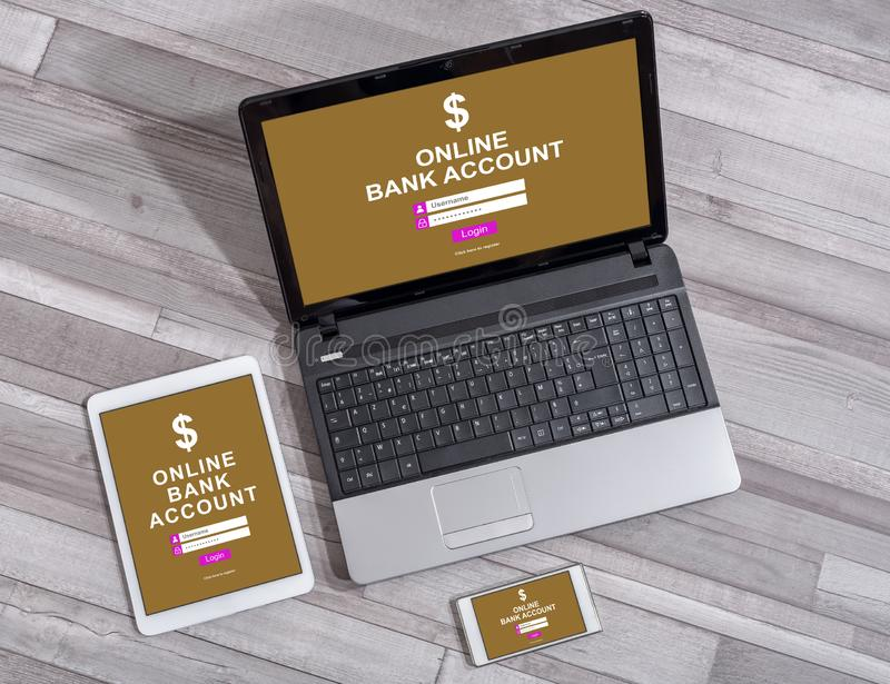 Online bank account concept on different devices. Online bank account concept shown on different information technology devices stock photo