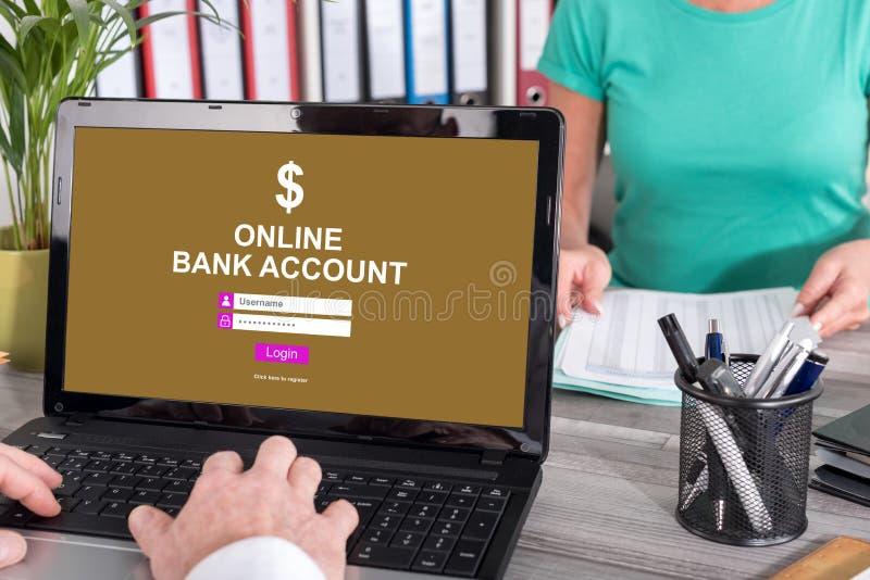 Online bank account concept on a laptop. Laptop screen with online bank account concept stock photography