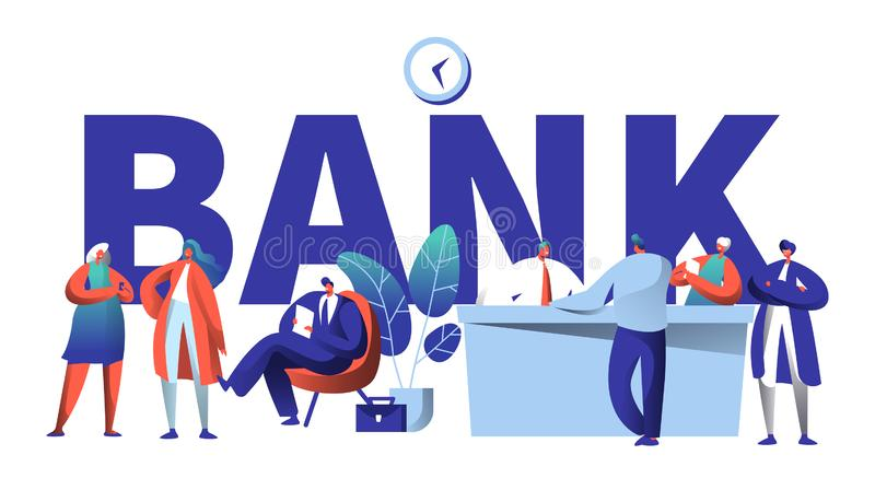 Online Bank Business Character Typography Banner. Safe Investment Deposit Meeting in Fin Tech Startup Office vector illustration