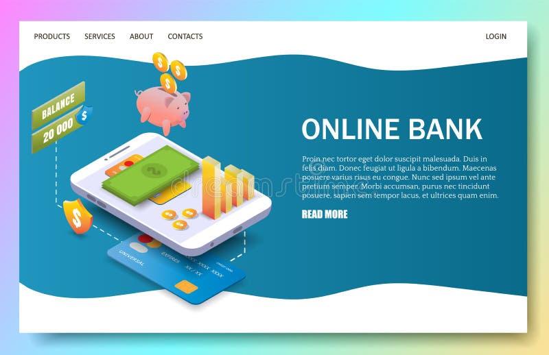 Online-bank som landar mallen för sidawebsitevektor stock illustrationer