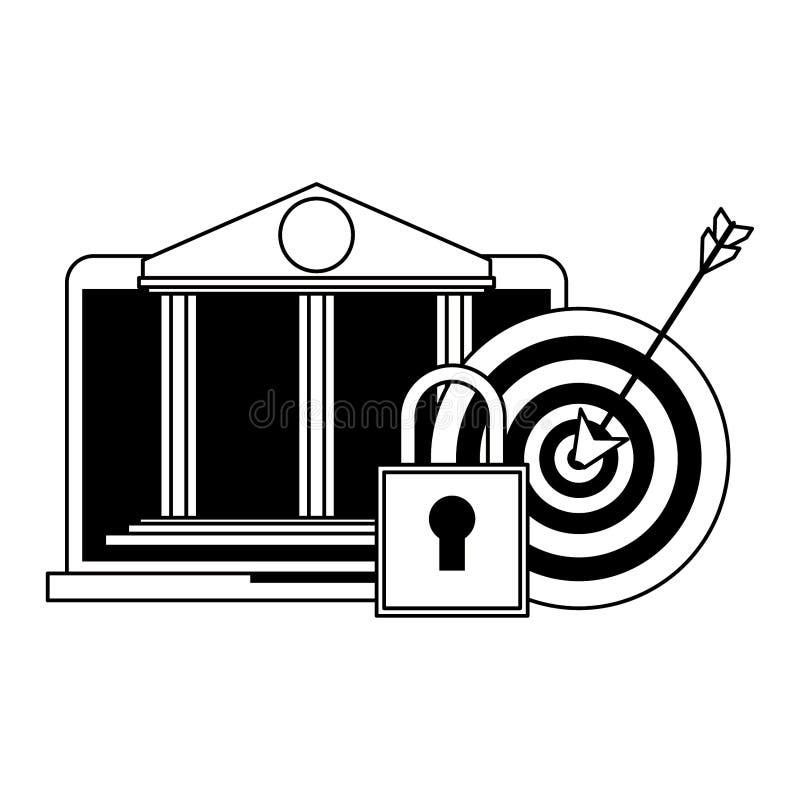 Online bank webiste from laptop in black and white. Online bank webiste from laptop security system symbols vector illustration graphic design vector illustration