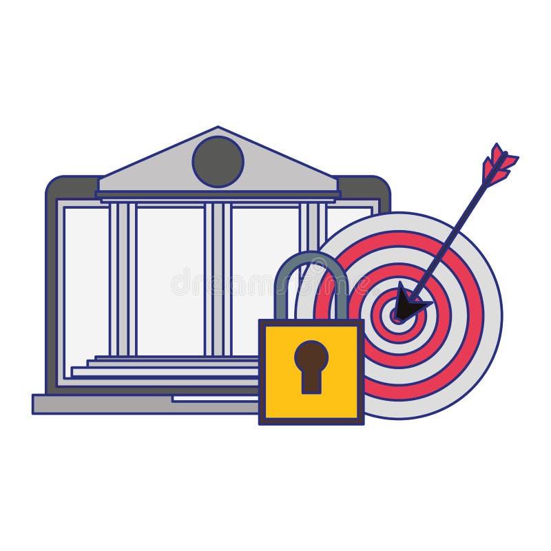 Online bank webiste from laptop blue lines. Online bank webiste from laptop security system symbols vector illustration graphic design vector illustration