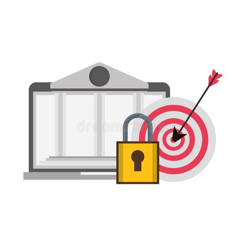 Online bank webiste from laptop. Security system symbols vector illustration graphic design royalty free illustration