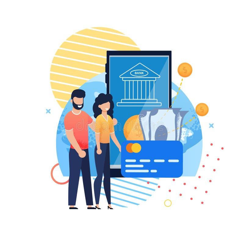 Online banka Mobilny zastosowanie dla Rodzinnych oszczędzań royalty ilustracja