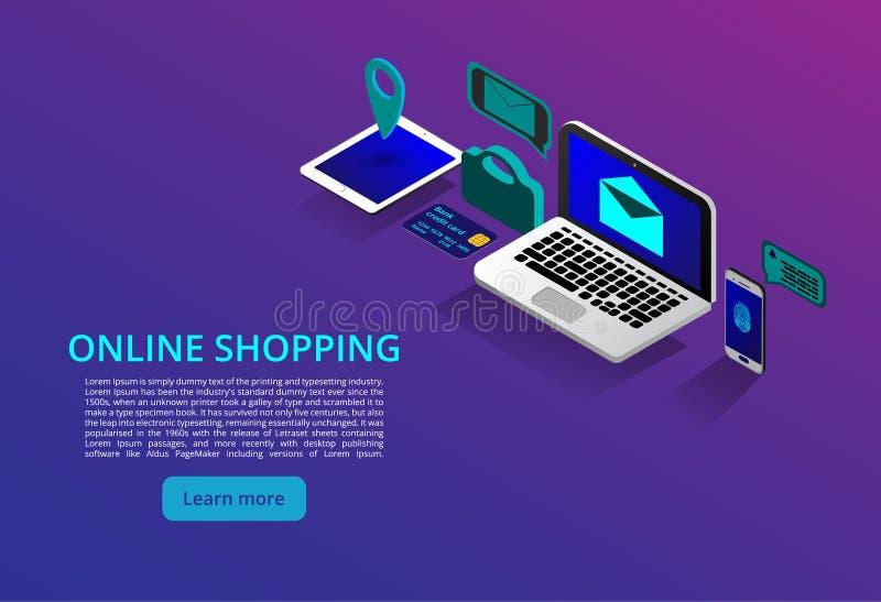 Online bankieren en Shoping, Mobiele betalingen, het isometrische concept van het Overdrachtgeld Online shoping concept Vector vector illustratie