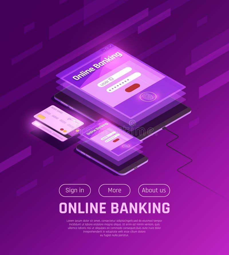 Online bankieren Isometrische Webpagina vector illustratie