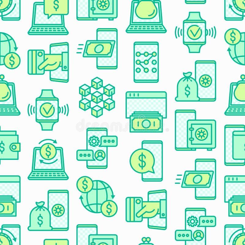 Online bankieren naadloos patroon met dunne lijnpictogrammen: storting app, geldveiligheid, Internet-bank, betaling zonder contac vector illustratie