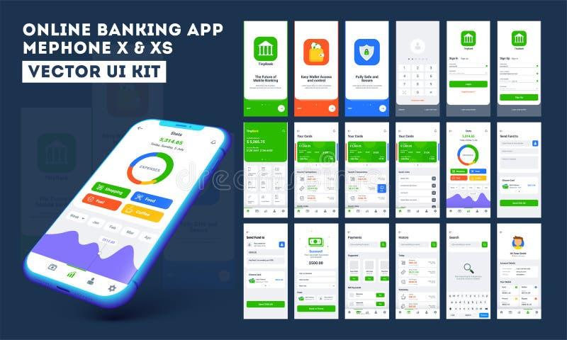 Online bankierenapp ui uitrusting voor ontvankelijke mobiele toepassing of website met verschillende lay-out stock illustratie
