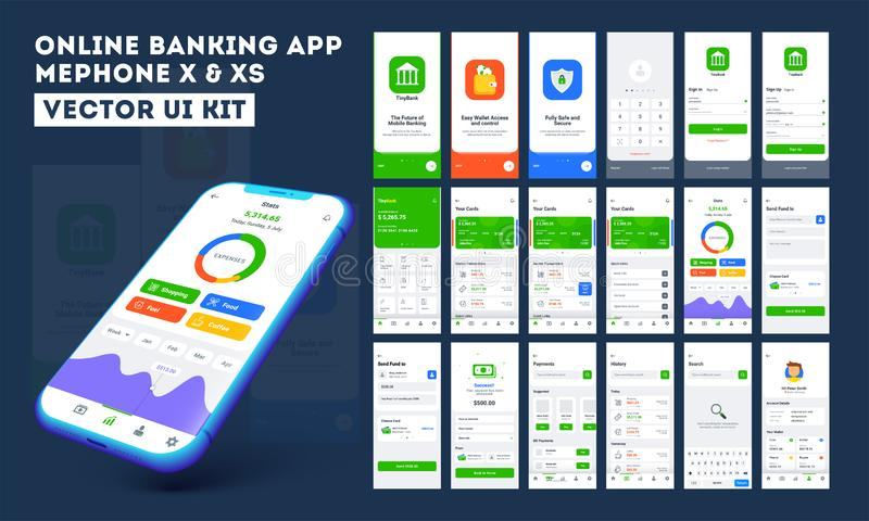 Online banking app ui kit for responsive mobile app or website with different layout. Online banking app ui kit for responsive mobile app or website with stock illustration
