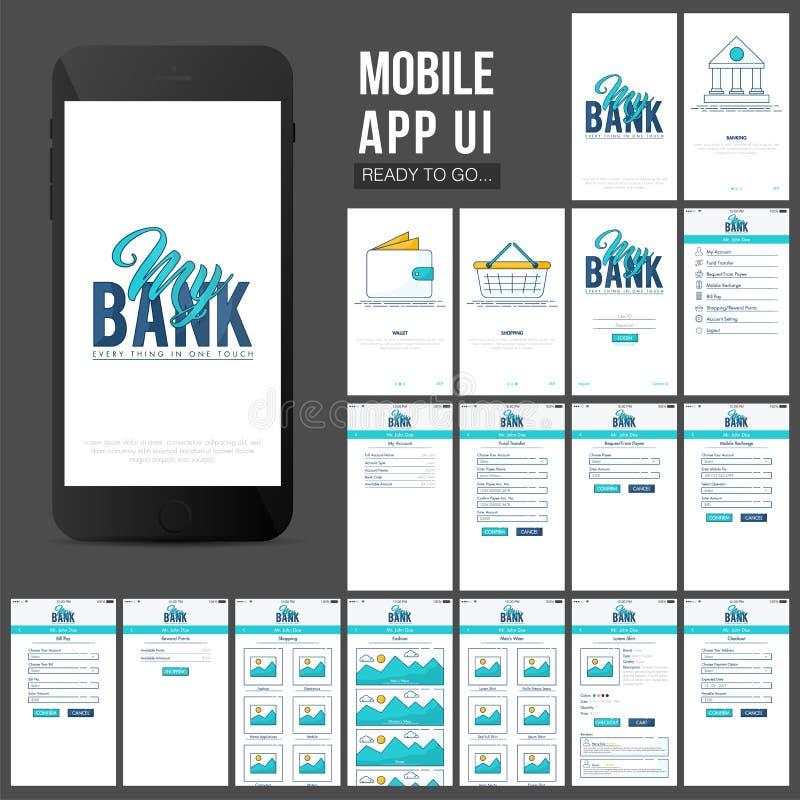 Online-Banking bewegliches Design Apps UI vektor abbildung