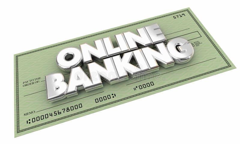 Online Banking Check Money Savings Words royalty free illustration
