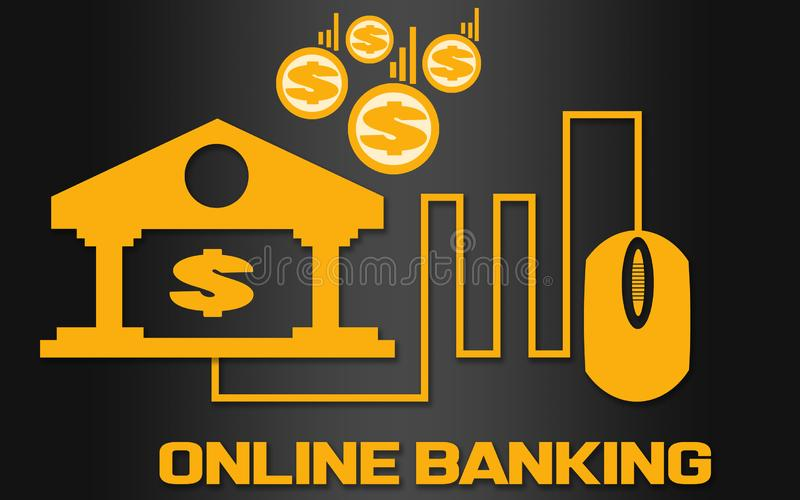 Online banking concept with golden bank logo royalty free illustration