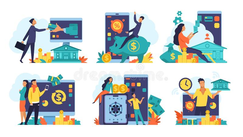 Online banking concept. Money cashback and transfer, fintech advertising and digital bank transactions. Vector mobile. Online banking concept. Money cashback and royalty free illustration