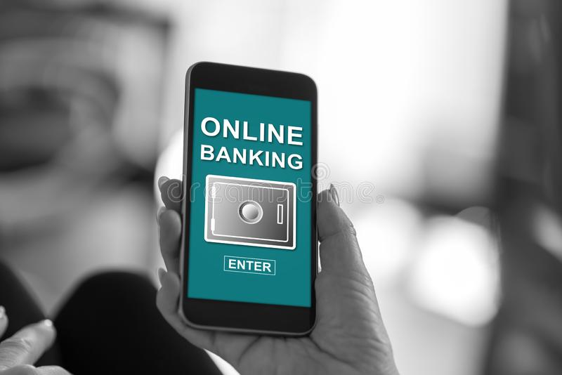 Online banking concept on a smartphone royalty free stock photography