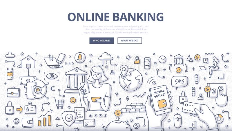 Online Banking Doodle Concept royalty free stock photos