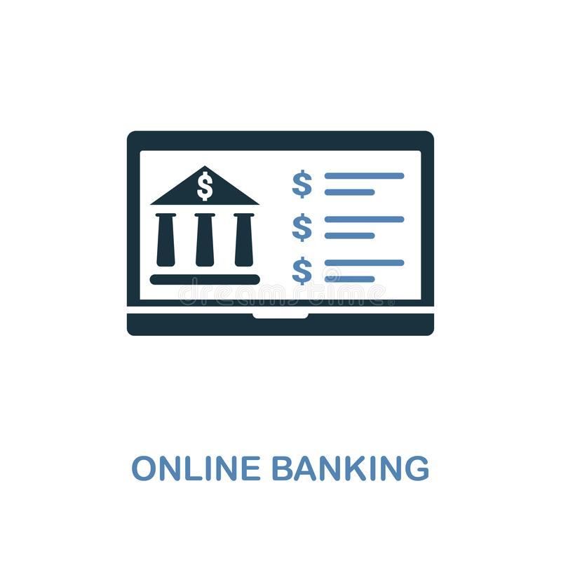 Online Banking icon in two colors design. Pixel perfect symbols from personal finance icon collection. UI and UX. Illustration of. Online Banking creative icon vector illustration