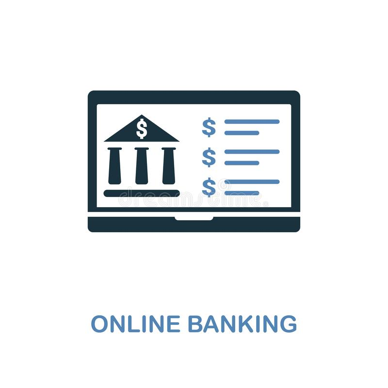 Online Banking icon in two colors design. Pixel perfect symbols from personal finance icon collection. UI and UX. Illustration of. Online Banking creative icon royalty free illustration