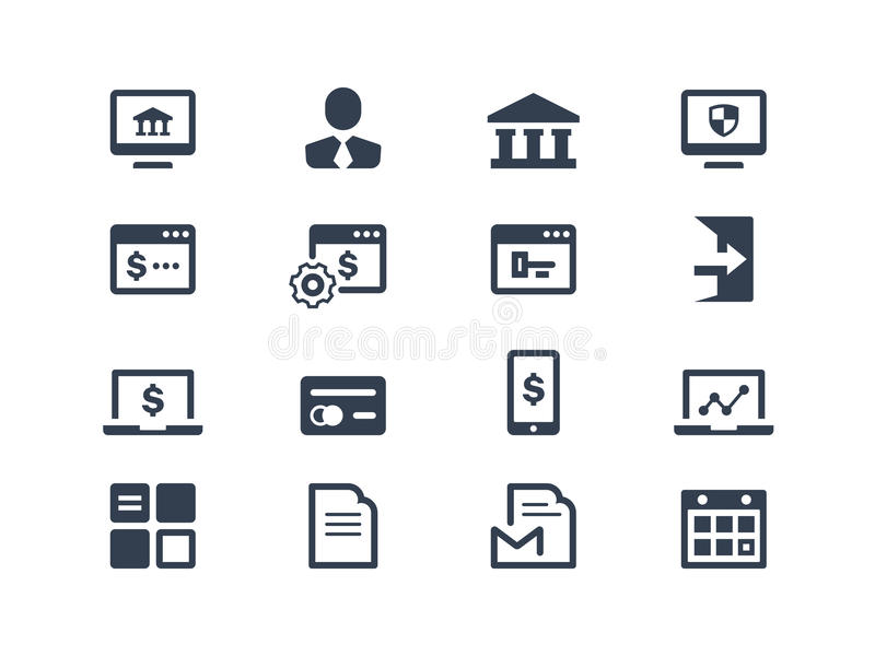 Download Online banking icons stock vector. Image of document - 33762089